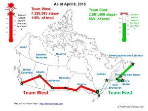 Fun Run map of provinces of Canada April 8